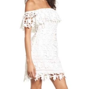 ASTR The Label Lace Off the Shoulder White Dress